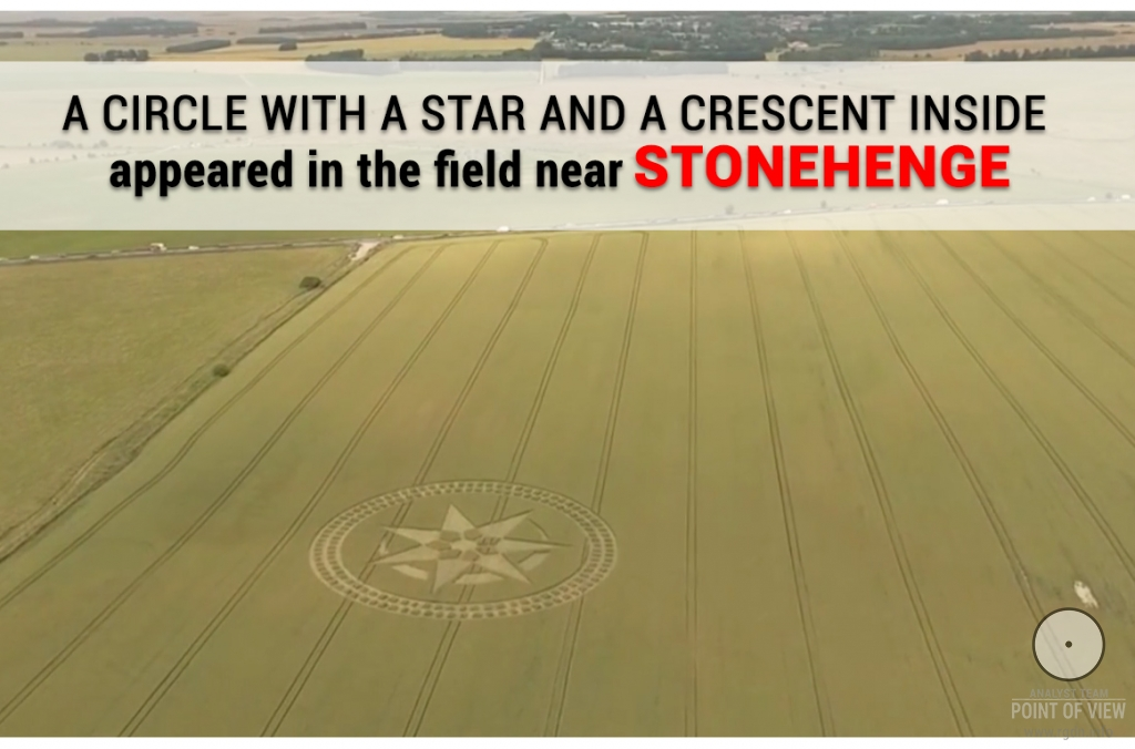 A circle with a star and a crescent inside appeared in the field near Stonehenge