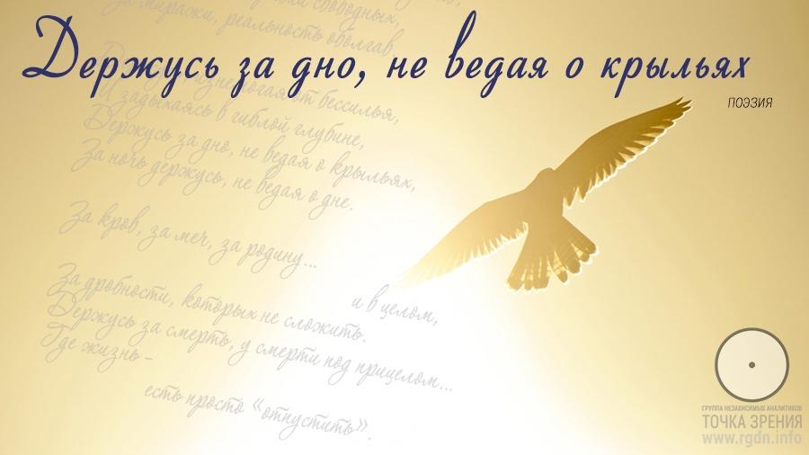 Держусь за дно, не ведая о крыльях. Поэзия.