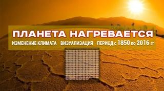 Планета нагревается! Изменение климата. Визуализация. Период с 1850 по 2016 гг.