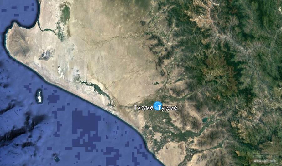 пирамиды Тукуме на карте, долина Ламбайеке