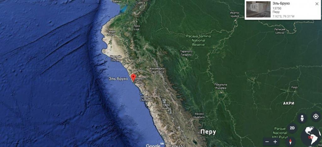 Комплекс Эль Брухо в Перу, на карте