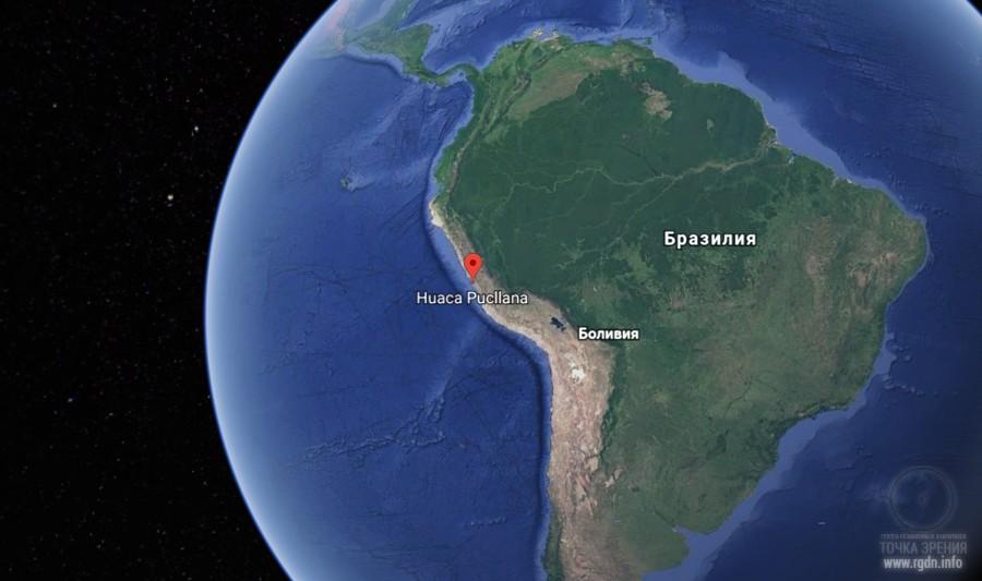пирамида Нuaca pucllana на карте Южной Америки