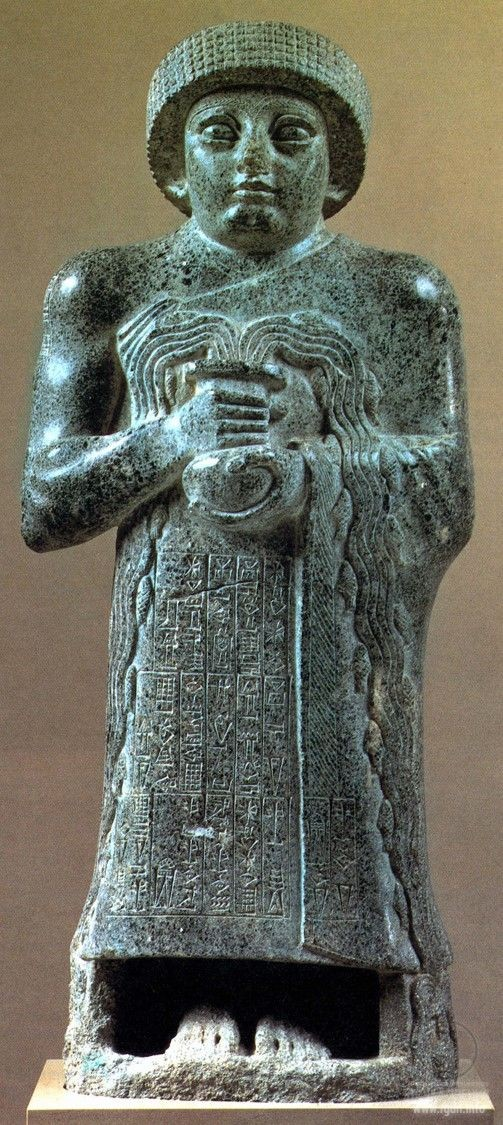 Gudea of Lagash, ruled 2144- 2124 BC. He probably did not come from the city, but had married Ninalla, daughter of the ruler Urbaba (2164-2144) of Lagash, thus gaining entrance to the royal house of Lagash