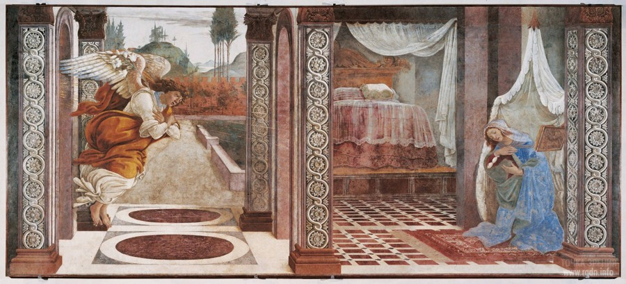 Sandro Botticelli. The Annunciation (1481) (Uffizi Gallery of Florence)