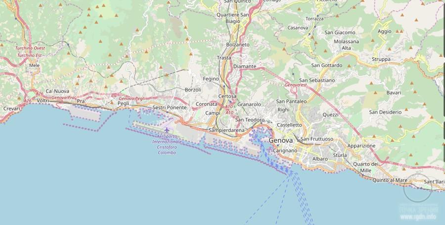 город Генуя, на карте