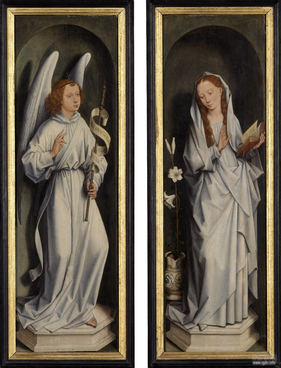 Triptych by Abbot Jan Crabbe (1467-1470) (closed). The Annunciation (National Museum, Bruges)