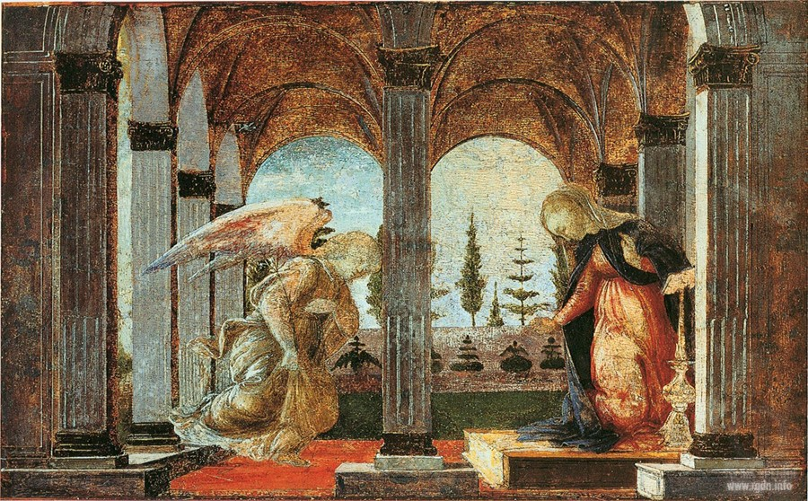 Sandro Botticelli. The Annunciation (1490-1493) (Glens Falls, New York)