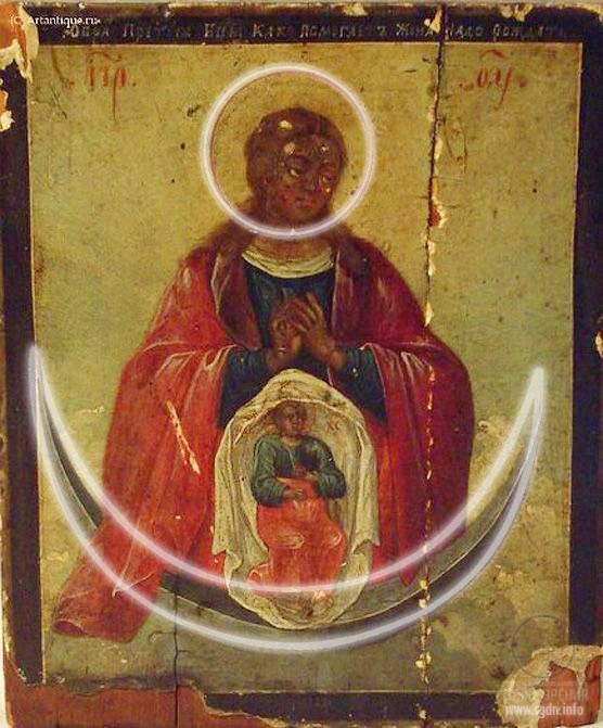 A circle and a crescent on Virgin Mary icon