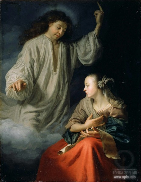 The Annunciation. Archangel Gabriel and Virgin Mary. Godfried Schalcken (1643-1706)