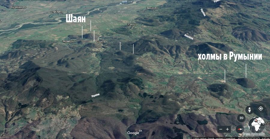 Шаяны и горы в Румынии, карта