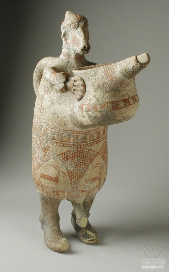 Spouted Anthropomorphic Vessel Western Iran, circa 1000-650 B.C. Furnishings; Serviceware Buff ware