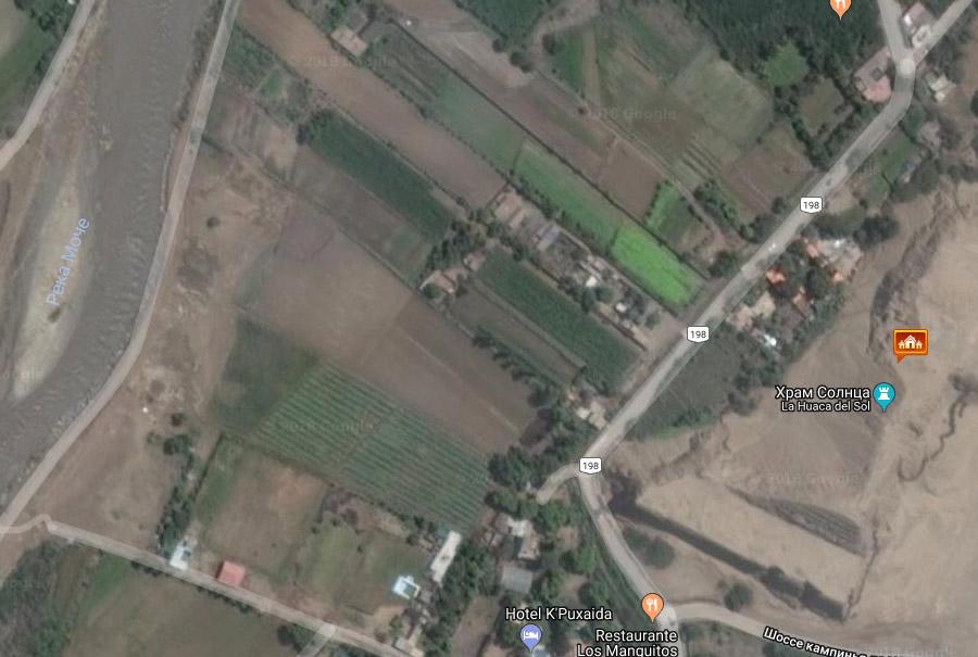 пирамиды в Трухильо и протекающая невдалеке река Моче