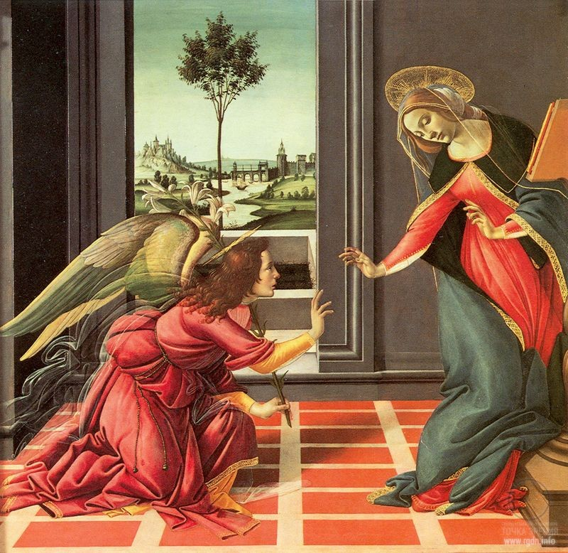 Sandro Botticelli. The Cestello Annunciation (1489-1490) (Uffizi Gallery of Florence)