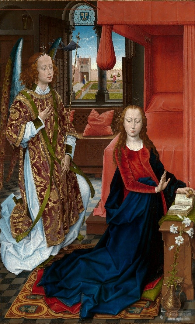 Hans Memling. The Annunciation (1465-1475). Hans Memling. The Annunciation (circa 1480-1489) (Metropolitan Museum of Art, New York)