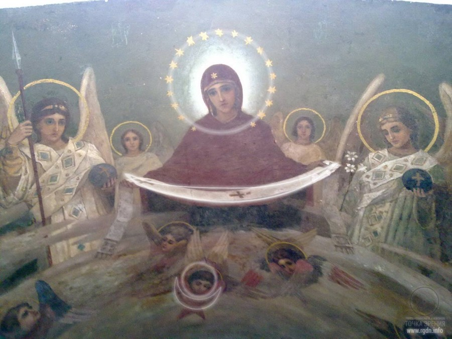 The Protecting Veil of the Most Holy Mother of God. A circle and a crescent