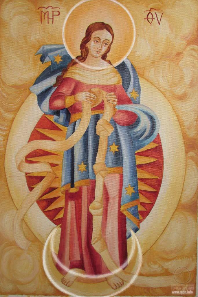 В иконах Пресвятой Богородицы круг и полумесяц (знак АллатРа)