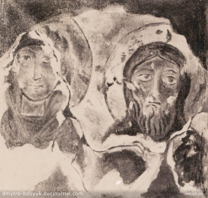 Бакотский монастырь. Фото камня слева с восстановленными фресками. Год 1880. Образ Богородицы и Иисуса Хреста