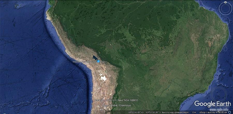 Тиуанако, пирамида Акапана, карта