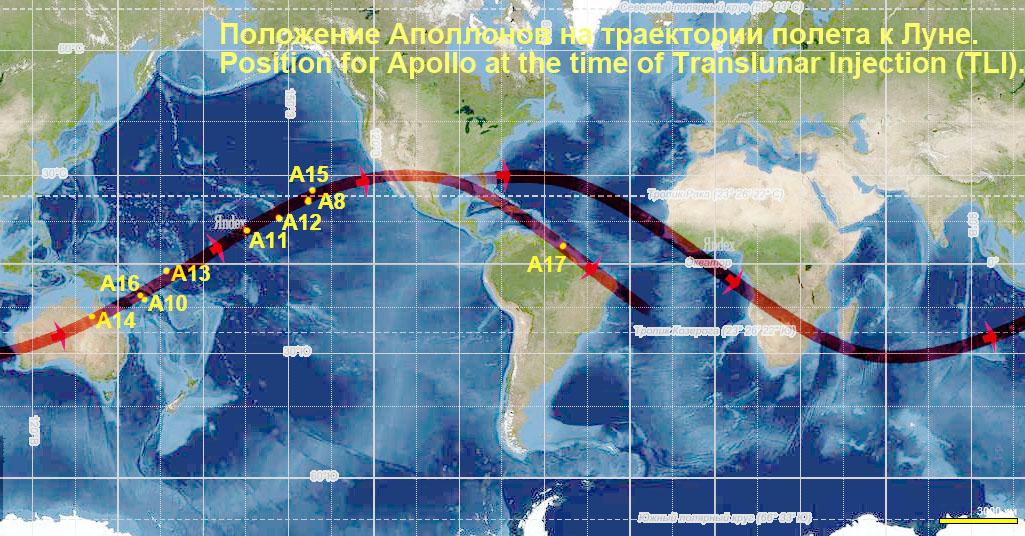 Проекция орбиты ожидания Апполонов