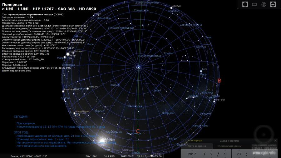 карта звездного неба программа, Полярная звезда