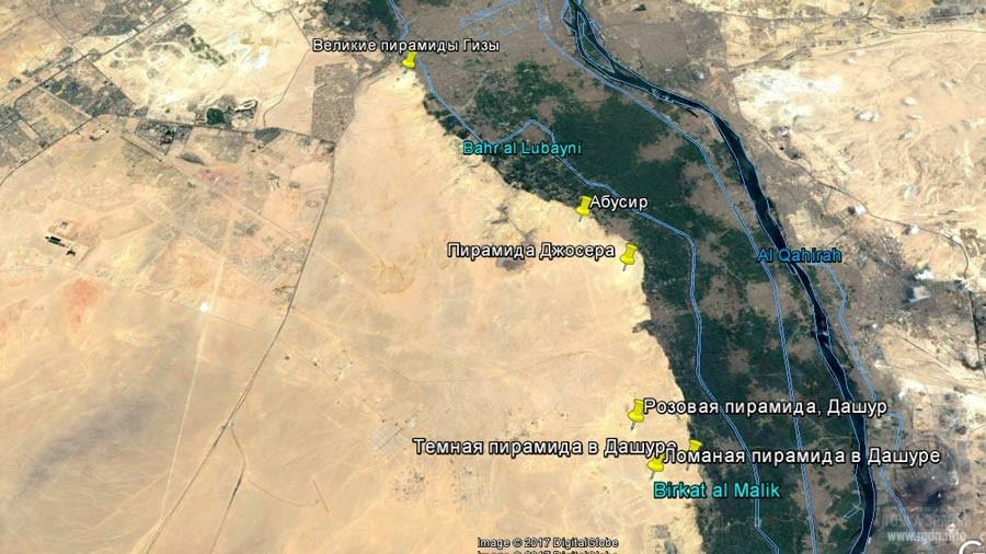 египетские пирамиды, карта
