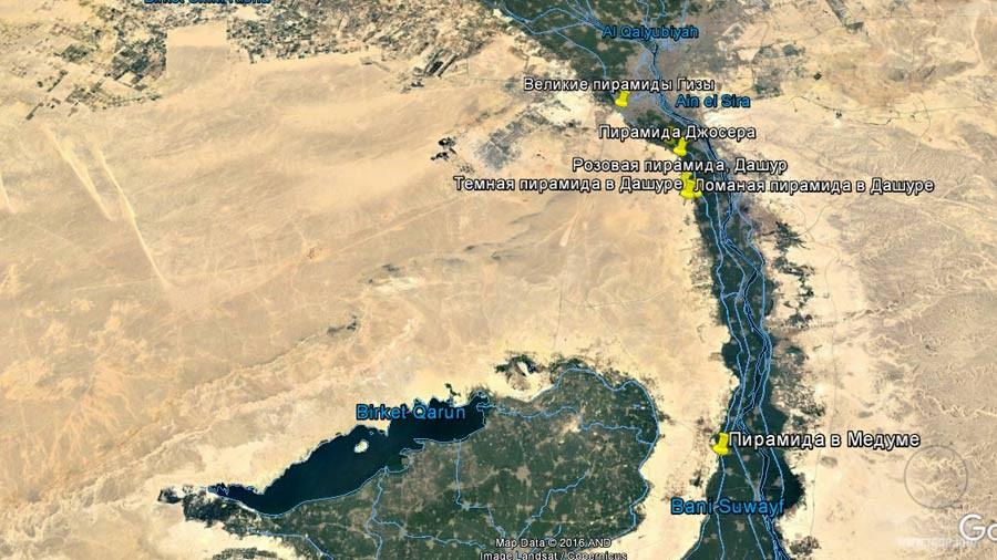 Медумская пирамида, карта египетских пирамид