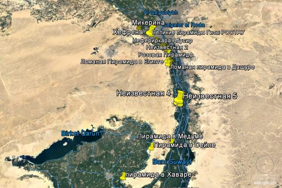 карта египетских пирамид