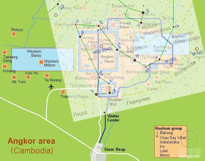 карта Ангкор-Вата и созвездия Дракона
