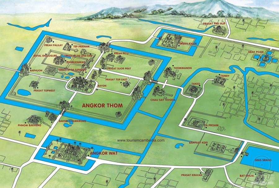 карта храмов Ангкор-Ват