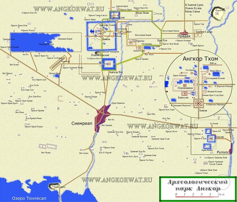 карта камбоджийского археологического парка Ангкор-Ват