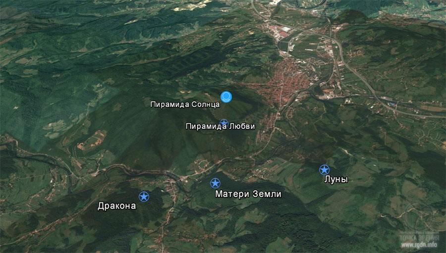 пирамиды в Боснии, карта