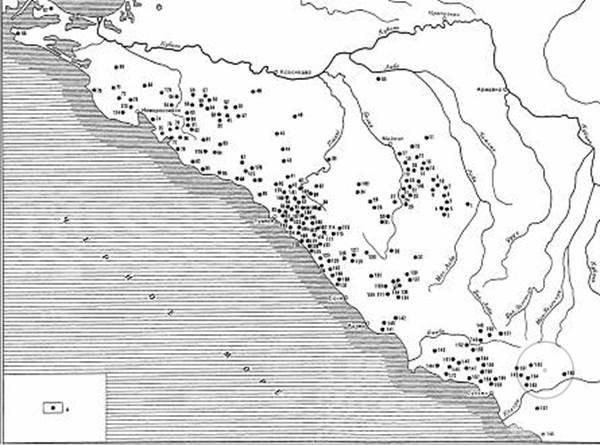 карта дольменов на Кавказе