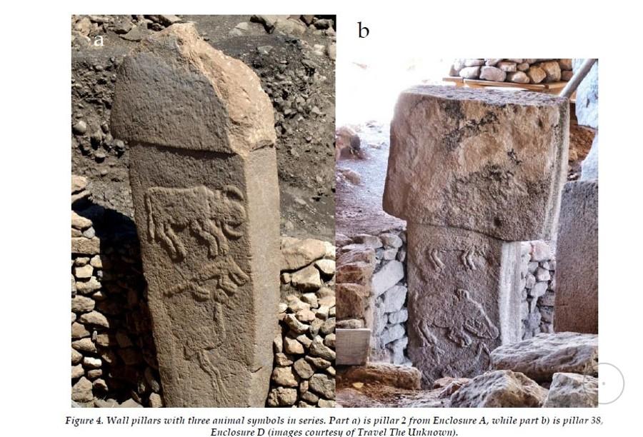 Стенные столбы с рядом из с рядом из трёх символов животных Гебекли-Тепе