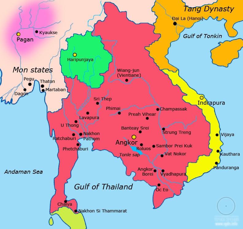 Кхме́рская империя или Камбуджадеша карта