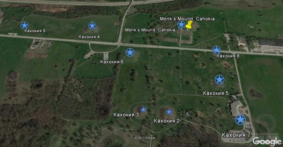 карта расположения курганов Кахокия, Миссисипи