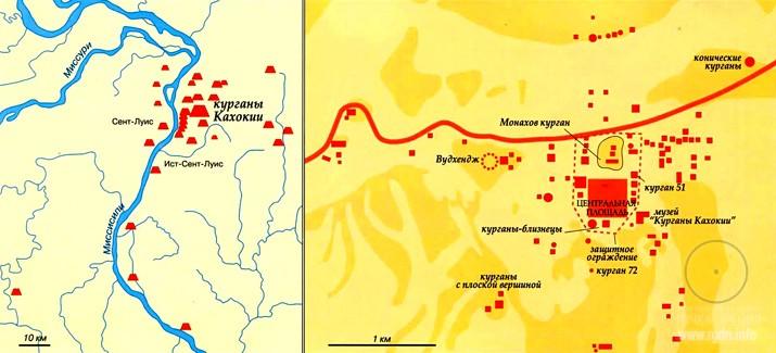 карта курганов Кахокия