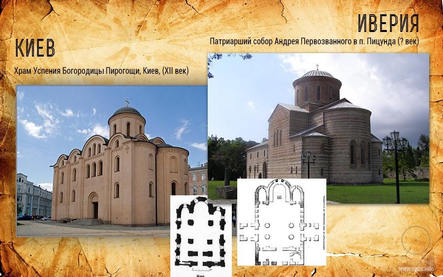 сравнение храма в Пирогоще Киев и в Пицунде