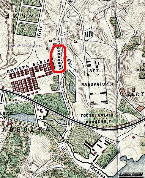 Ручей Бусловка на карте Киева 1886 года