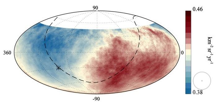 Распределение потока космических лучей с энергиями более 8×1018 эВ по небесной сфере