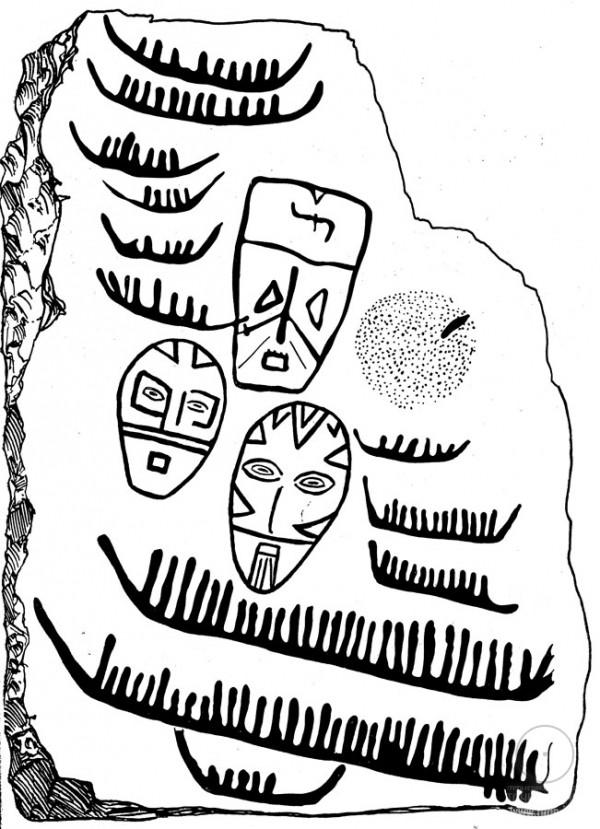 Камень с изображениями у с. Калиновки, Амурская область, петроглифы