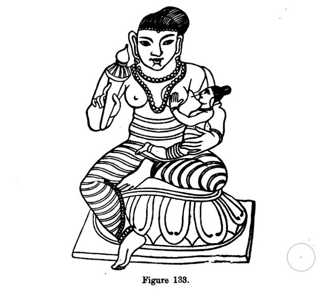 copied from Moor's Hindu, Pantheon, pi. ix., fig. 8. It represents Bhavhani, Maia, Devi, Lakshmi, or Kamala