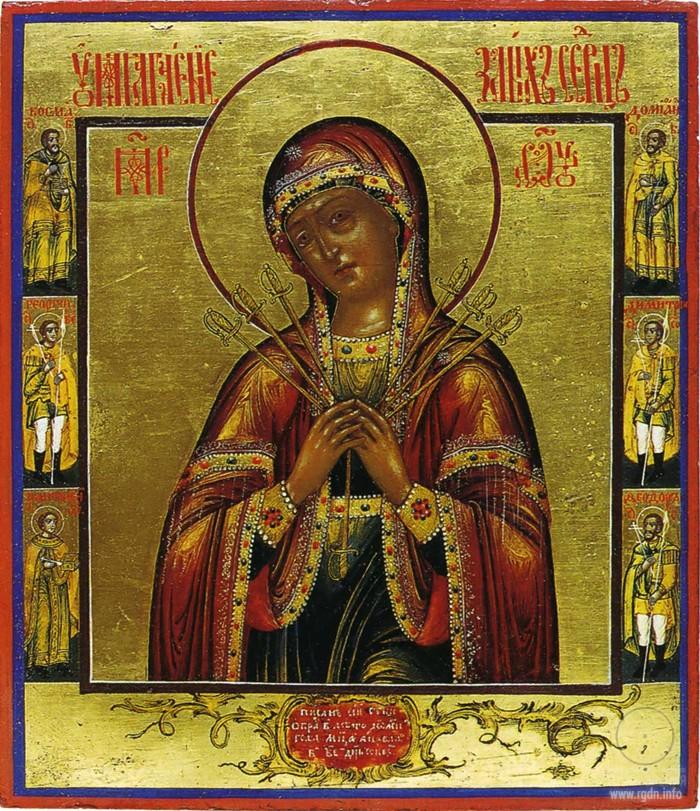 Икона Богородицы «Умягчение злых сердец» (Семистрельная)