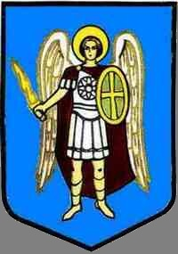 the image of the Archangel Michael on a blue shield